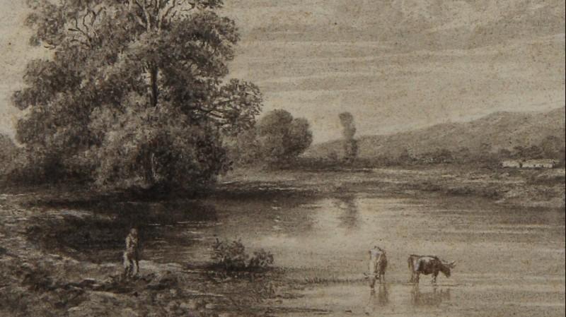 Alexandre CALAME (1810-1864) - Dessin au lavis d'encre sur papier