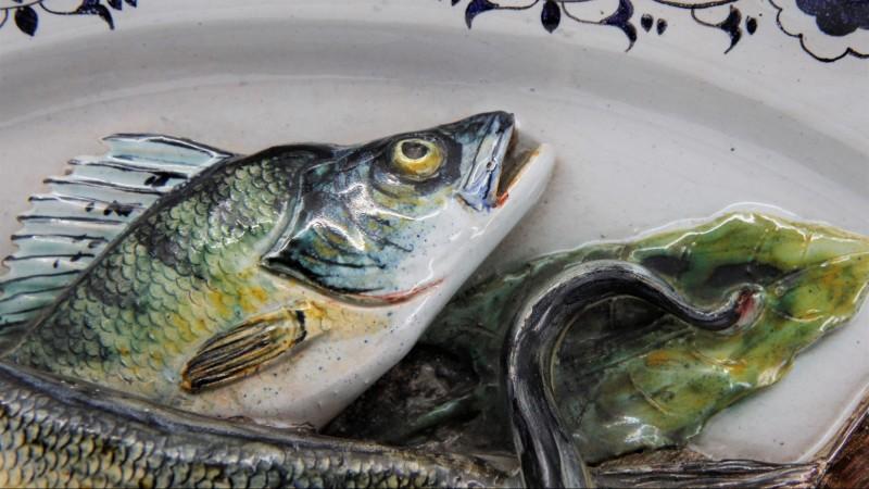 Léon BRARD (1830-1902) - Grand plat aux poissons, vers 1880