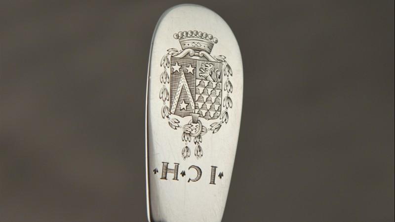 Fourchette en argent armoriée - Besançon, 1752