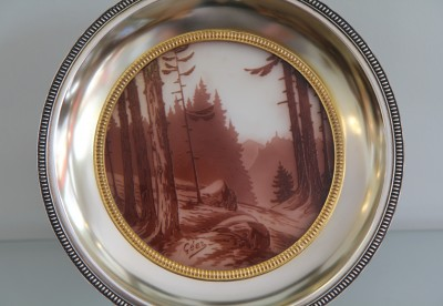 Jacques Gruber (1870-1936) - Coupe à médaillon de paysage dégagé à l'acide