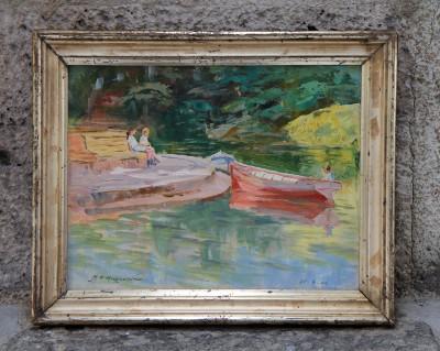 H.-E. HUGUENIN-VIRCHAUX (1878-1958) - Etude sur carton, 25.06.1924