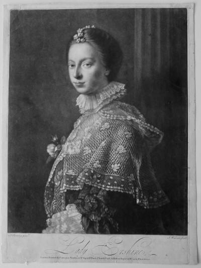 Lady Erskine, par James Watson - Mezzotinte [manière noire], vers 1759