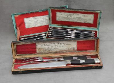 Couteaux et service à découper - Par Martin, coutelier à Paris. Epoque Premier Empire