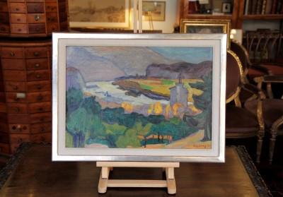 Christiane ZUFFEREY (1920-2011) - Le Rhône près de Sierre, 1954