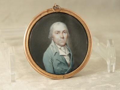 Portrait d'homme, miniature sur ivoire - Fin du XVIIIe - début du XIXe siècle