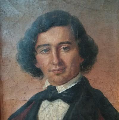 Petit portrait d'homme - Huile sur carton, vers 1850