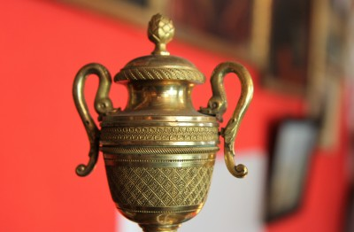 Grande psyché d'époque Empire - Acajou et bronze doré
