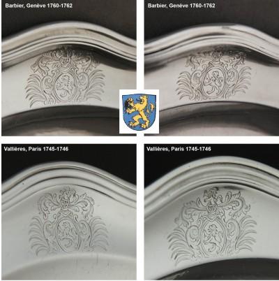 Rare suite de quatre plats armoriés - Paris, 1745-1746 & Genève, 1760-1762