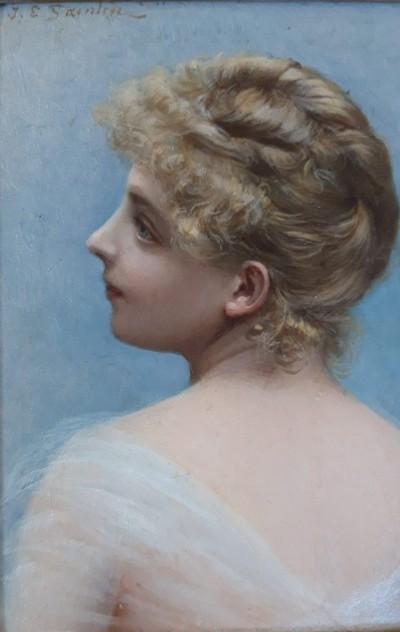 Jules-Emile Saintin (1829-1894) - Petit portrait de femme, 1891