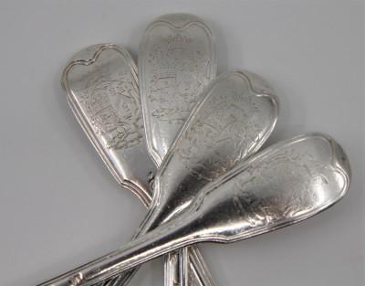 Quatre fourchettes armoriées - Parenté de Joséphine de Beauharnais