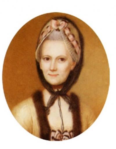 Portrait au pastel de Sophie von La Roche, 1774. Même coiffe, mêmes rubans assortis, même robe d'intérieur jaune bordée de fourrure.