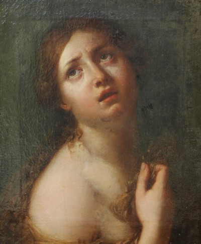 Sainte-Marie Madeleine - Huile sur toile, cadre d'époque Louis XVI en bois doré