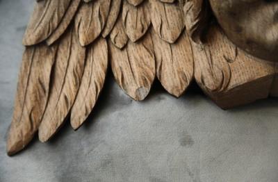 Grande tête d'ange ailée - Chêne blond, XIXe