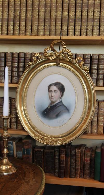 Eugénie de Landerset (*1834) - Portrait au pastel, vers 1860