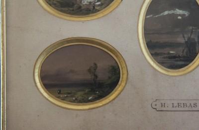 Gabriel-Hippolyte Lebas (1812-1880) - Cinq miniatures à l'aquarelle