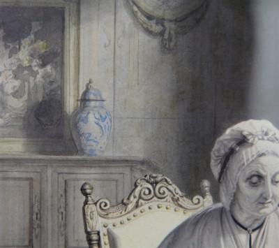 Josephus Laurentius Dyckmans (1811-1888) - La dentellière, aquarelle sur trait, 1850