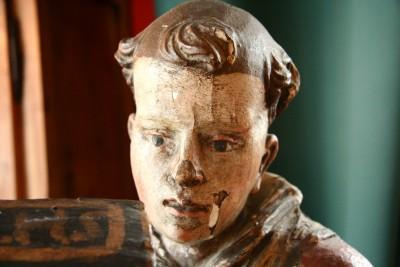 Saint Bernard de Menthon - Tilleul sculpté Polychromie d'origine