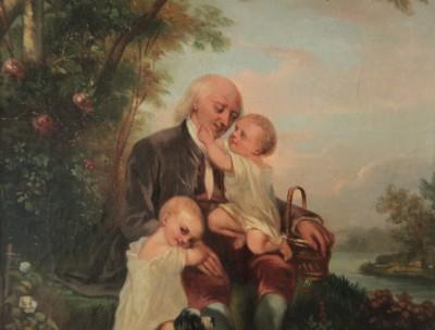Le grand-père et ses petits-enfants - Huile sur toile, 1847