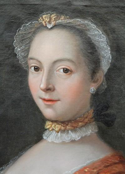 Portrait de jeune femme, XVIIIe - Signé Masson et daté 1758